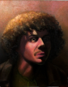 This is a self portrait done March 2013. Oil paints.